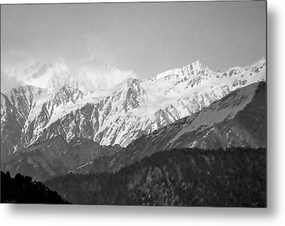 High Himalayas - Black And White Metal Print by Kim Bemis