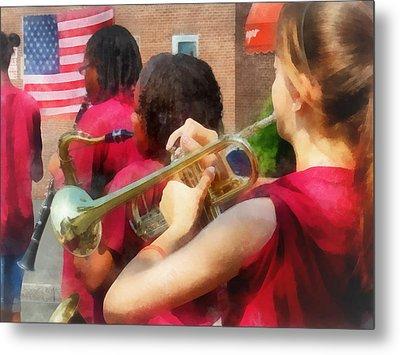 High School Band At Parade Metal Print by Susan Savad