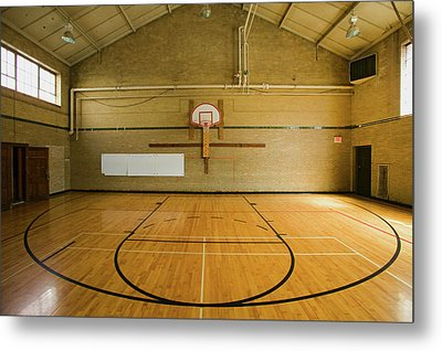 High School Basketball Court And Head Metal Print