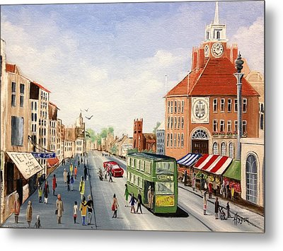 Metal Print featuring the painting High Street by Helen Syron