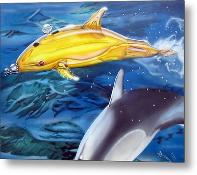 High Tech Dolphins Metal Print