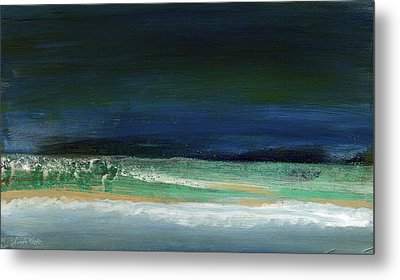 High Tide- Abstract Beachscape Painting Metal Print by Linda Woods