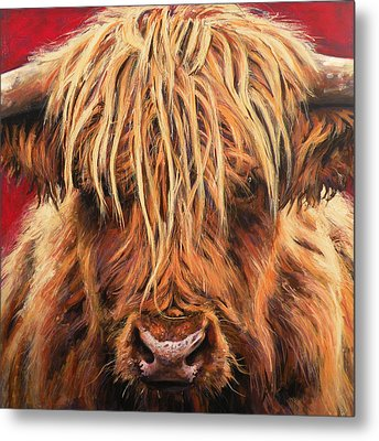 Highland Cow Metal Print by Leigh Banks