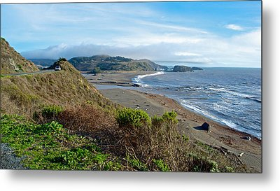 Highway 1 Near Outlet Of Russian River Into Pacific Ocean Near Jenner-ca  Metal Print by Ruth Hager