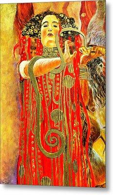 Higieja-according To Gustaw Klimt Metal Print