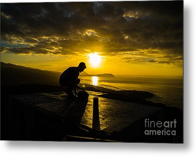 Hiker @ Diamondhead Metal Print