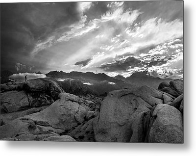 Hiker At Alabama Hills Metal Print by Cat Connor