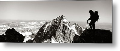 Hiker, Grand Teton Park, Wyoming, Usa Metal Print by Panoramic Images