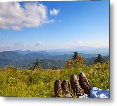 Hikers With A View On Round Bald Near Roan Mountain Metal Print by Melinda Fawver