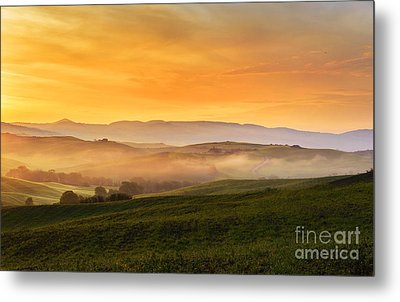 Hills And Fog Metal Print