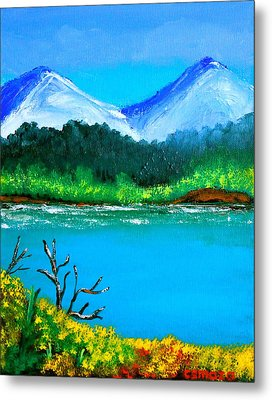 Hills By The Lake Metal Print