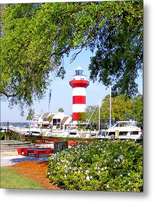 Hilton Head Lighthouse And Marina Metal Print