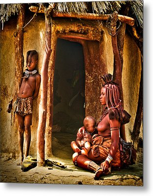 Himba Family By The Door Of Their Clay Hut Metal Print by Paul W Sharpe Aka Wizard of Wonders