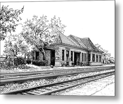 Hinsdale Train Station Metal Print by Mary Palmer