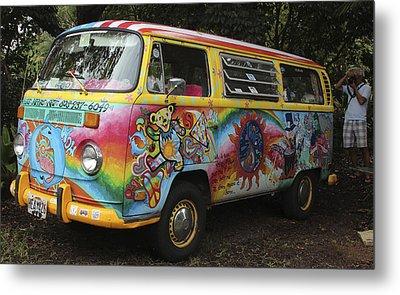 Vintage 1960's Vw Hippie Bus Metal Print by Venetia Featherstone-Witty