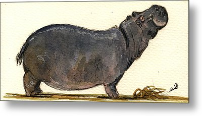 Hippo Happy Metal Print by Juan  Bosco