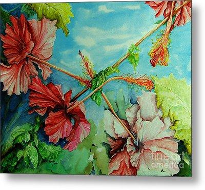 Hiroko's Hibiscus 3 Metal Print by Rachel Lowry