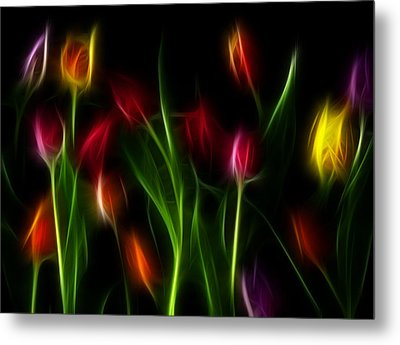Metal Print featuring the digital art His Tulips by Karen Showell