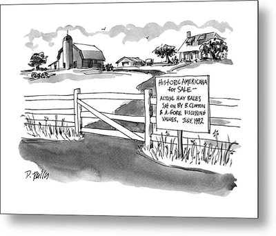 Historic Americana For Sale - Actual Hay Bales Metal Print by Donald Reilly