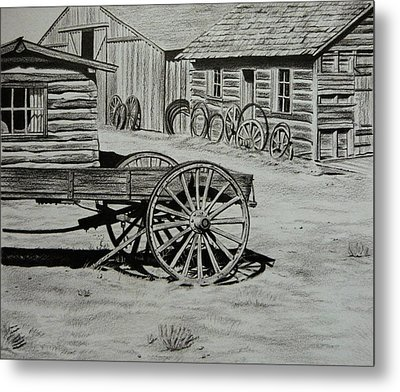 Historic Cabins Cody Wyoming Metal Print by Lucy Deane