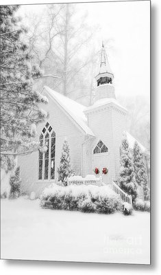 Metal Print featuring the photograph White Christmas In Oella Maryland Usa by Vizual Studio