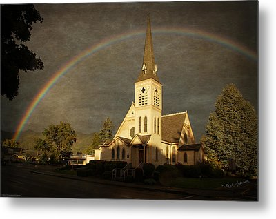 Historic Methodist Church In Rainbow Light Metal Print