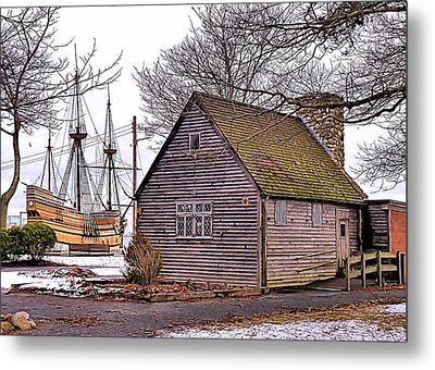 Metal Print featuring the photograph Historic Plymouth Ma Harbor by Janice Drew
