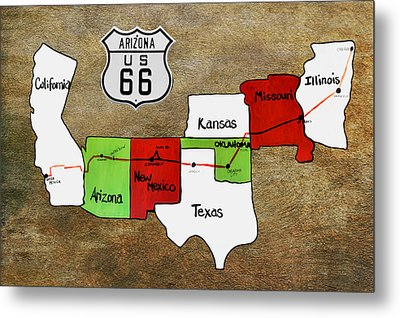 Historic Route 66 - The Mother Road Metal Print by Christine Till