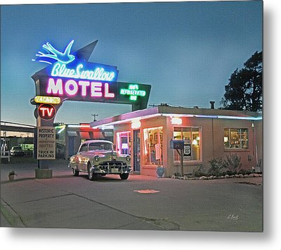 Historic Rt. 66 Blue Swallow Motel Metal Print by Gordon Beck