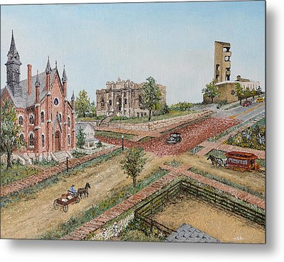 Metal Print featuring the painting Historic Street - Lawrence Ks by Mary Ellen Anderson