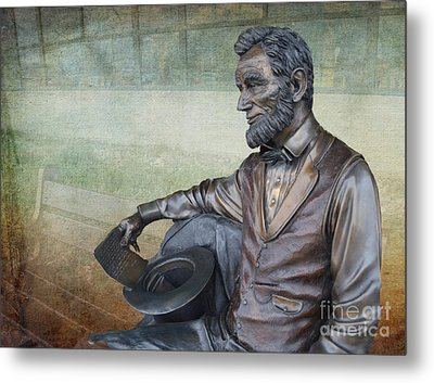 History - Abraham Lincoln Contemplates -  Luther Fine Art Metal Print by Luther Fine Art