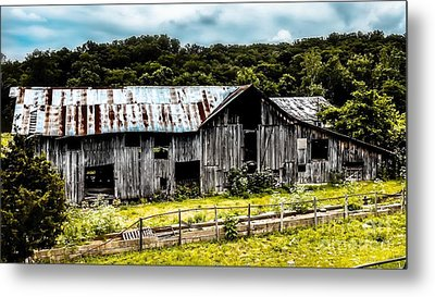 History Left Behind  Old Barn Metal Print by Peggy Franz