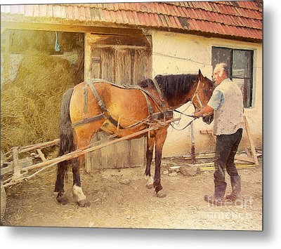 Hitched The Horses Metal Print by Odon Czintos