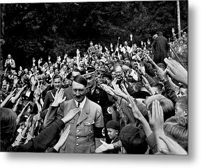 Hitler Being Greeted Metal Print by Underwood Archives