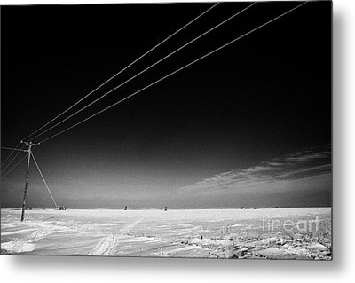 Hoar Frost Covered Electricity Transmission Lines Snow Covered Prairie Agricultural Farming Land Wit Metal Print by Joe Fox
