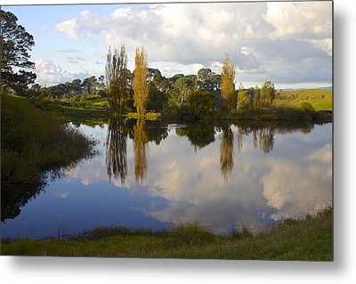 Autumn At Hobbiton Lake New Zealand Metal Print by Venetia Featherstone-Witty