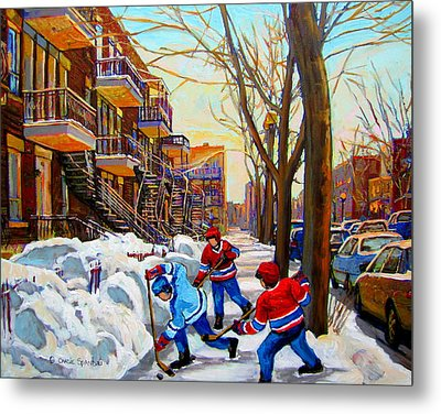 Hockey Art - Paintings Of Verdun- Montreal Street Scenes In Winter Metal Print by Carole Spandau