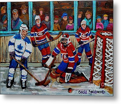 Hockey Art Vintage Game Montreal Forum Metal Print by Carole Spandau