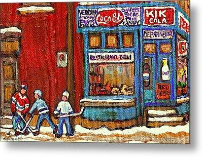 Hockey Game At The Corner Kik Cola Depanneur  Resto Deli  - Verdun Winter Montreal Street Scene  Metal Print by Carole Spandau