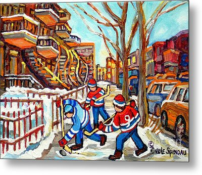 Hockey Game Near Montreal Staircases Winter Scenes Paintings Carole Spandau Metal Print by Carole Spandau