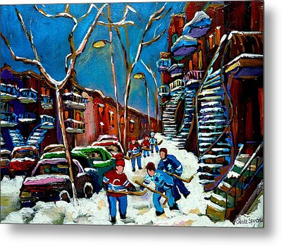 Hockey Game On De Bullion Montreal City Scene Metal Print