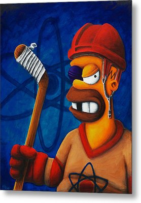 Hockey Homer Metal Print by Marlon Huynh