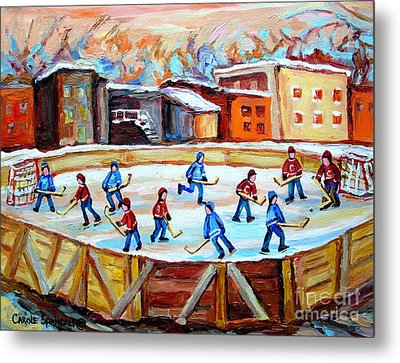 Hockey In The City Outdoor Hockey Rink Montreal Memories Winter City Scenes Painting Carole Spandau  Metal Print by Carole Spandau
