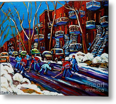 Hockey On De Bullion Montreal Metal Print