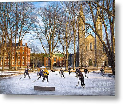Hockey On The Quad Metal Print by Benjamin Williamson