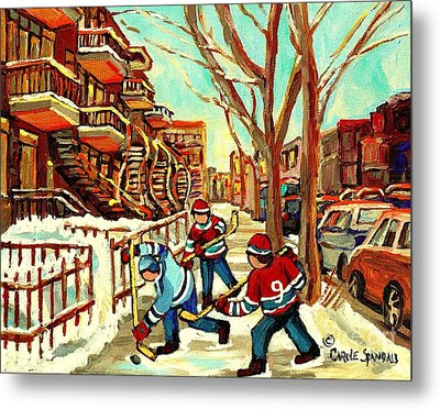 Hockey Paintings Verdun Streets And Staircases  Winter Scenes Montreal City Scene Specialist   Metal Print by Carole Spandau