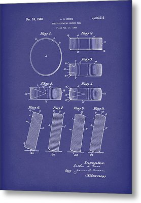 Hockey Puck Patent Art Blue Metal Print