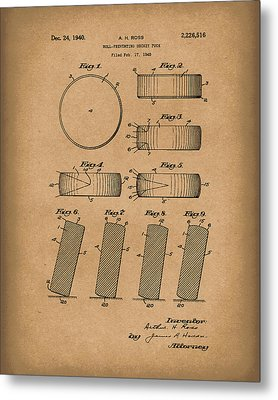 Hockey Puck Patent Art Brown Metal Print