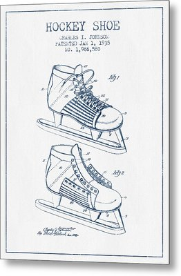Hockey Shoe Patent Drawing From 1935- Blue Ink Metal Print by Aged Pixel