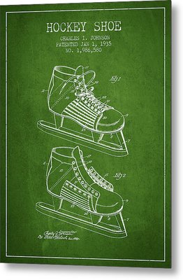 Hockey Shoe Patent Drawing From 1935 - Green Metal Print by Aged Pixel